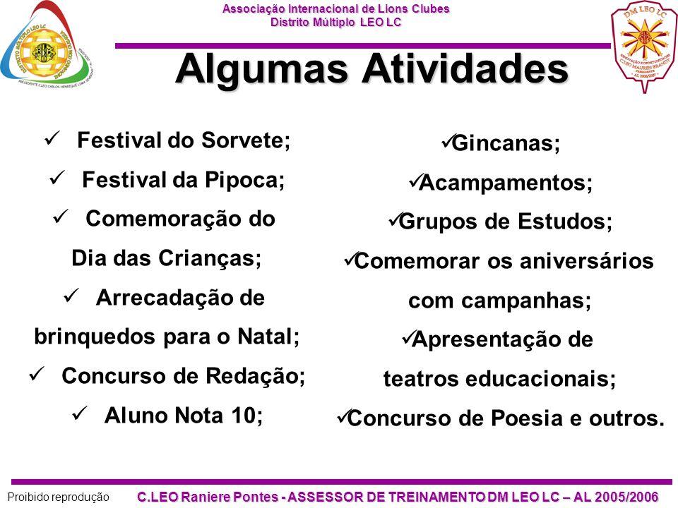 Algumas Atividades Festival do Sorvete; Gincanas; Festival da Pipoca;