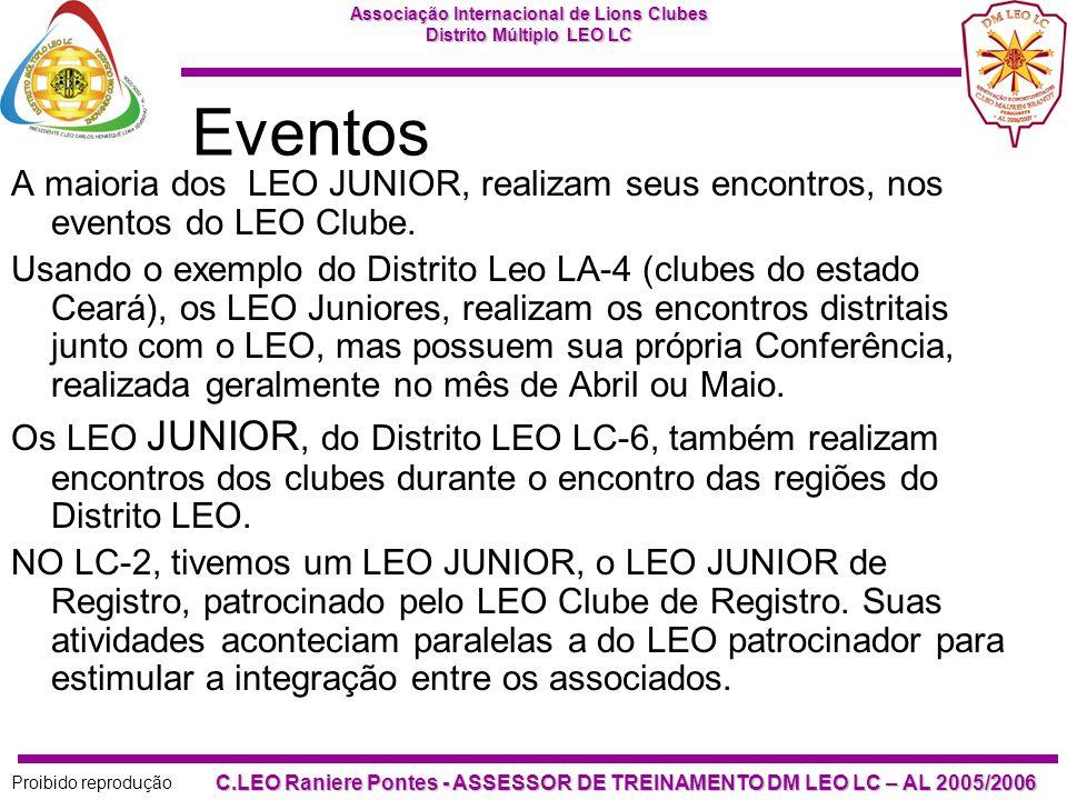Eventos A maioria dos LEO JUNIOR, realizam seus encontros, nos eventos do LEO Clube.