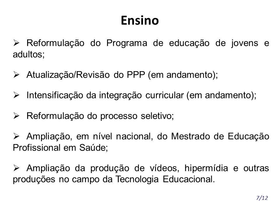 Ensino Reformulação do Programa de educação de jovens e adultos;