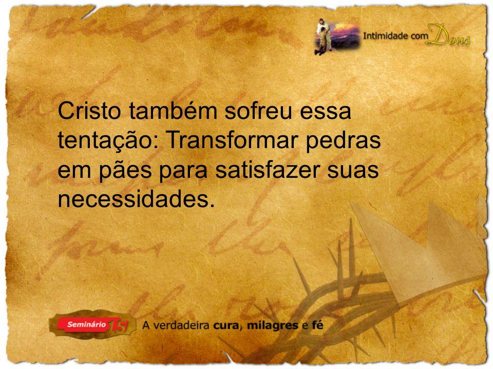 Cristo também sofreu essa tentação: Transformar pedras em pães para satisfazer suas necessidades.