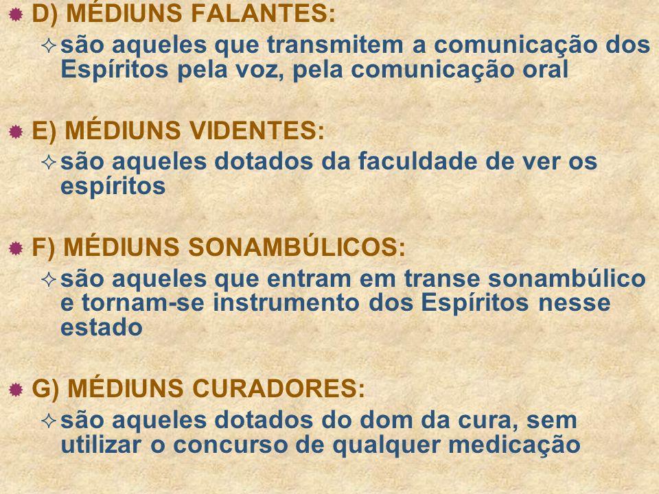 D) MÉDIUNS FALANTES: são aqueles que transmitem a comunicação dos Espíritos pela voz, pela comunicação oral.