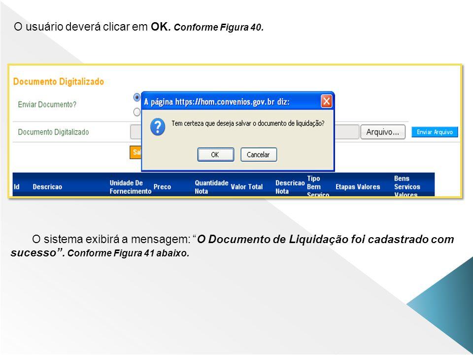 O usuário deverá clicar em OK. Conforme Figura 40.