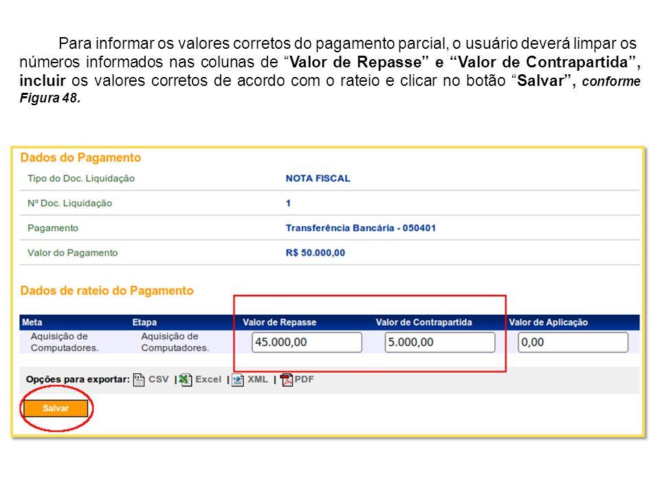 Para informar os valores corretos do pagamento parcial, o usuário deverá limpar os