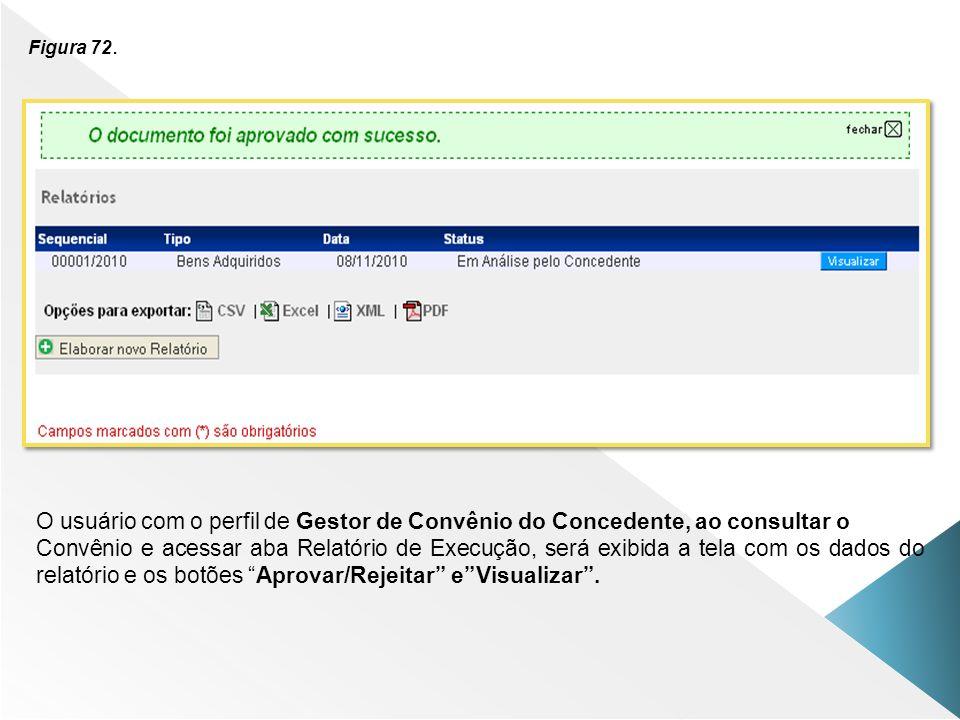 Figura 72. O usuário com o perfil de Gestor de Convênio do Concedente, ao consultar o.