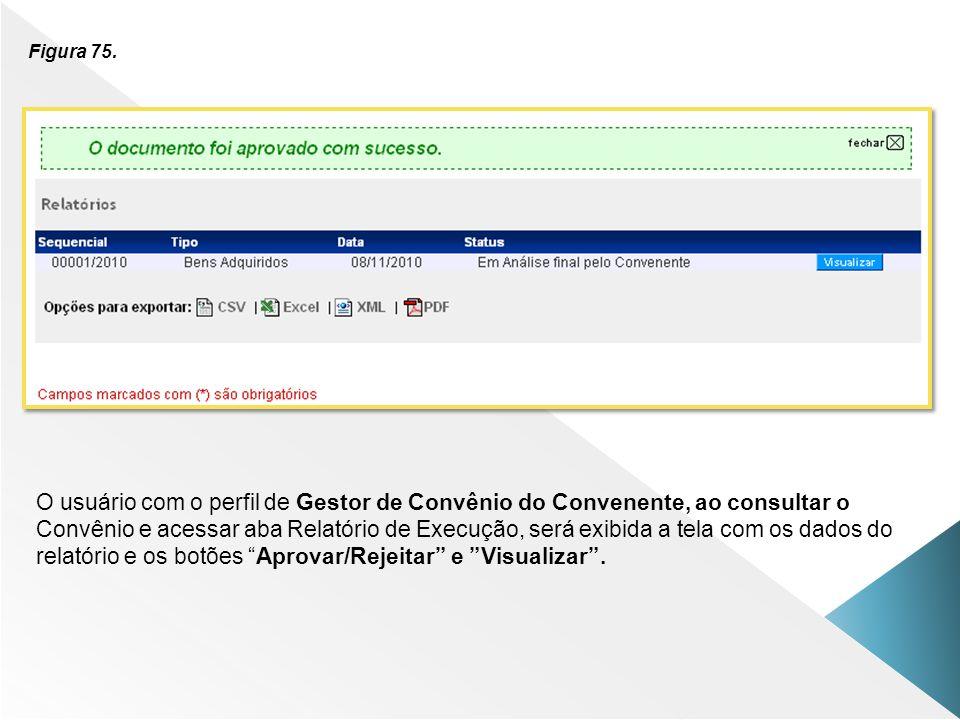 Figura 75. O usuário com o perfil de Gestor de Convênio do Convenente, ao consultar o.