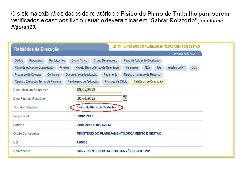 O sistema exibirá os dados do relatório de Físico do Plano de Trabalho para serem verificados e caso positivo o usuário deverá clicar em Salvar Relatório , conforme Figura 123.