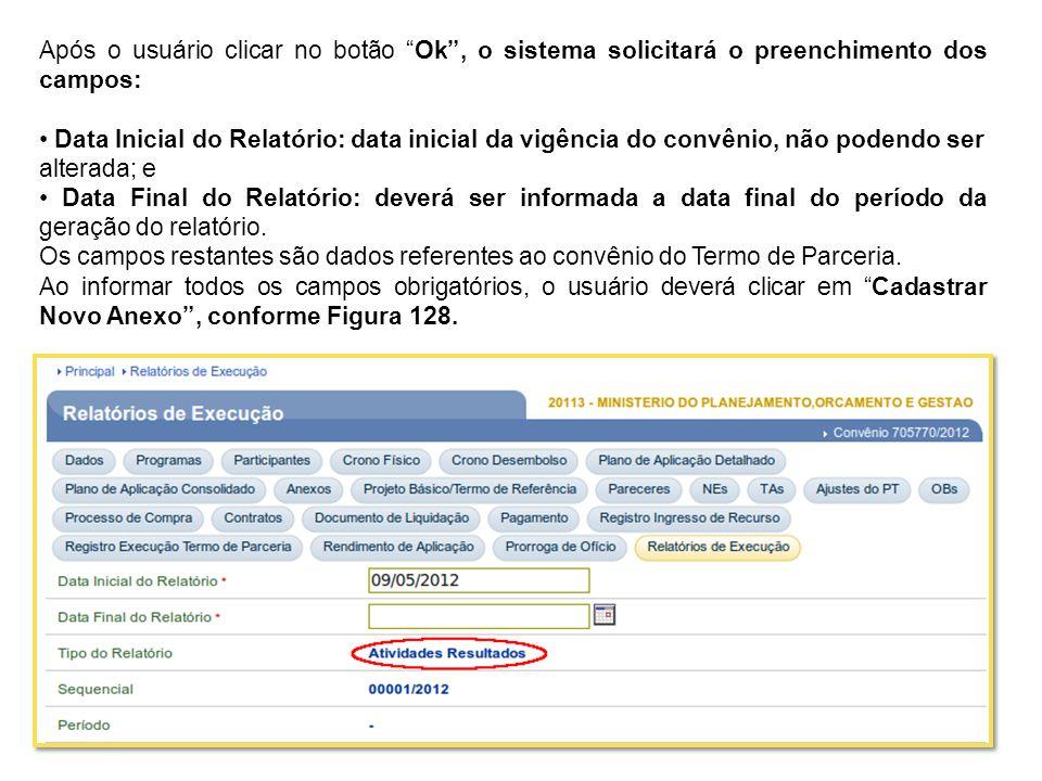 Após o usuário clicar no botão Ok , o sistema solicitará o preenchimento dos campos: