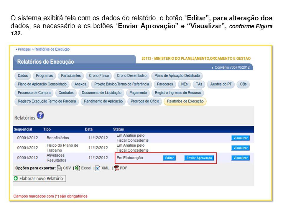 O sistema exibirá tela com os dados do relatório, o botão Editar , para alteração dos dados, se necessário e os botões Enviar Aprovação e Visualizar , conforme Figura 132.