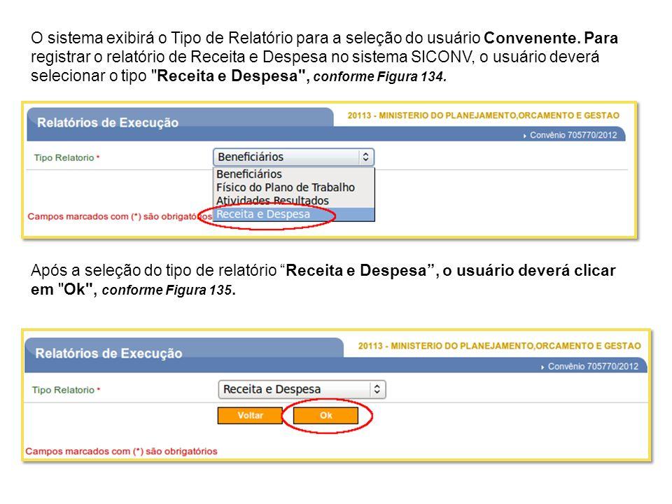 O sistema exibirá o Tipo de Relatório para a seleção do usuário Convenente. Para registrar o relatório de Receita e Despesa no sistema SICONV, o usuário deverá selecionar o tipo Receita e Despesa , conforme Figura 134.