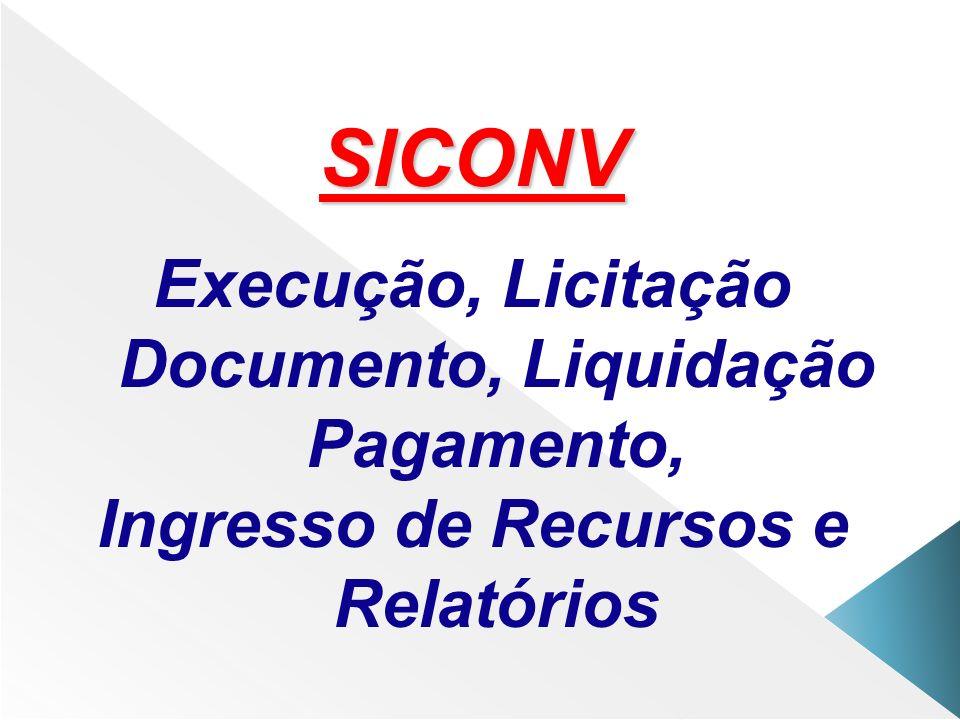 SICONV Execução, Licitação Documento, Liquidação Pagamento,
