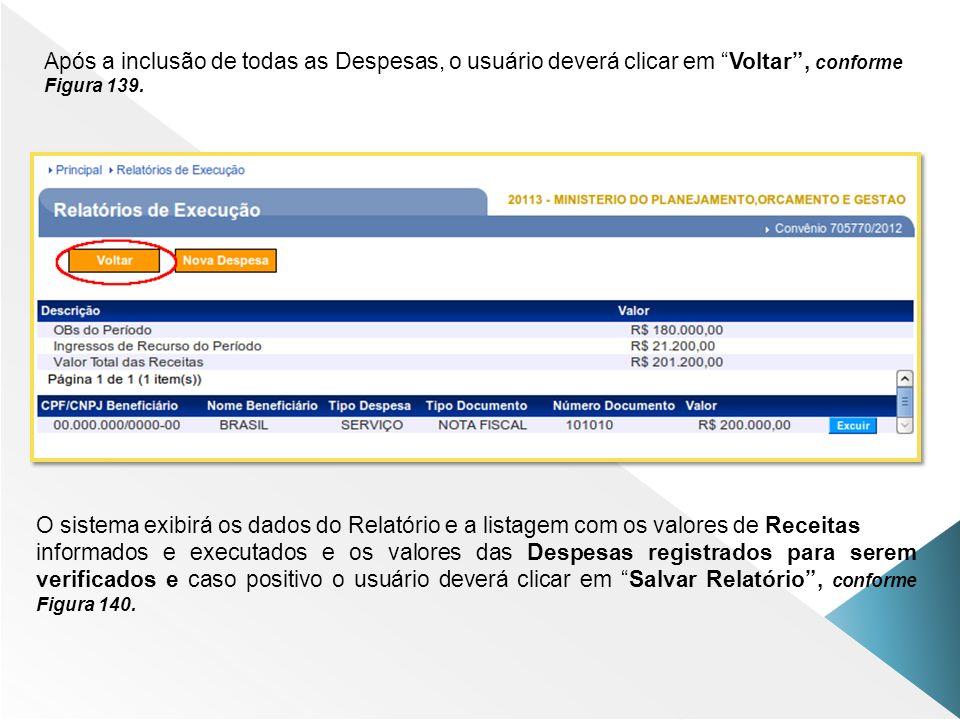 Após a inclusão de todas as Despesas, o usuário deverá clicar em Voltar , conforme Figura 139.