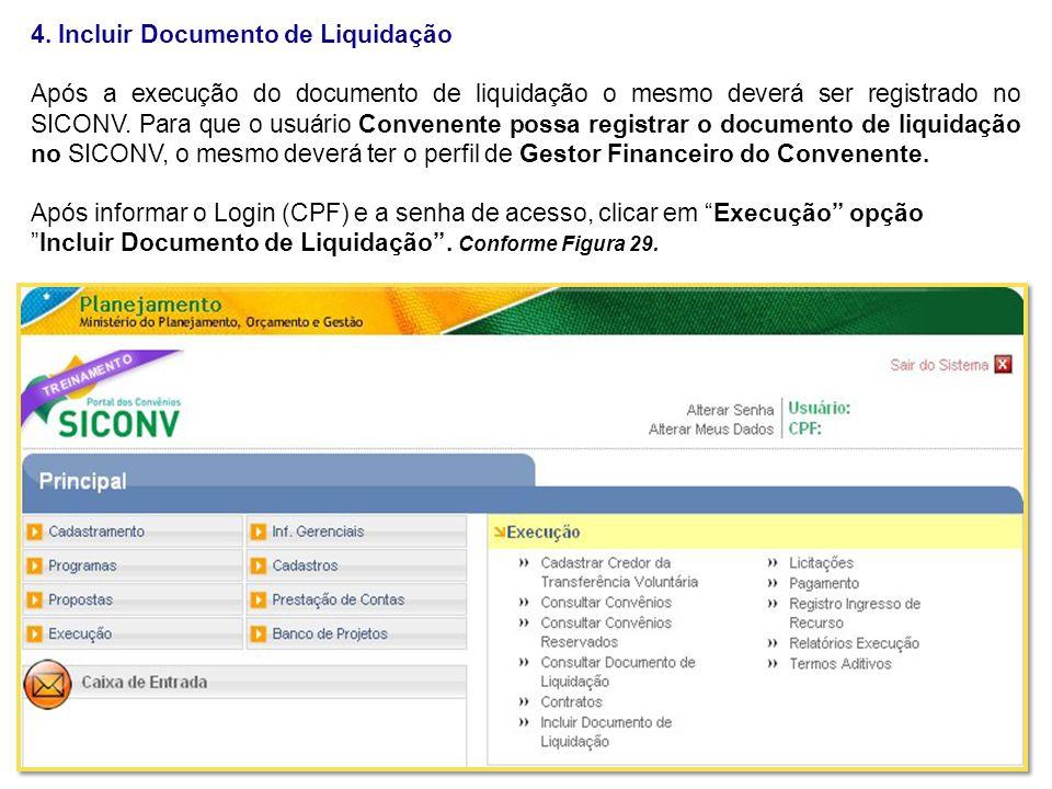 4. Incluir Documento de Liquidação
