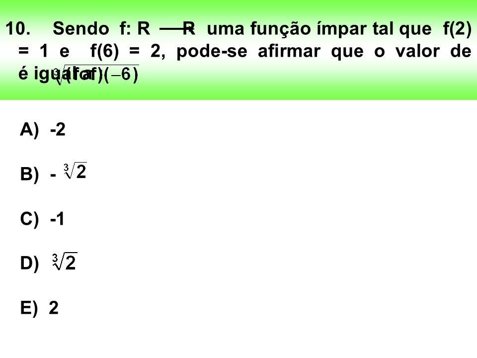 10. Sendo f: R R uma função ímpar tal que f(2) = 1 e f(6) = 2, pode-se afirmar que o valor de é igual a :