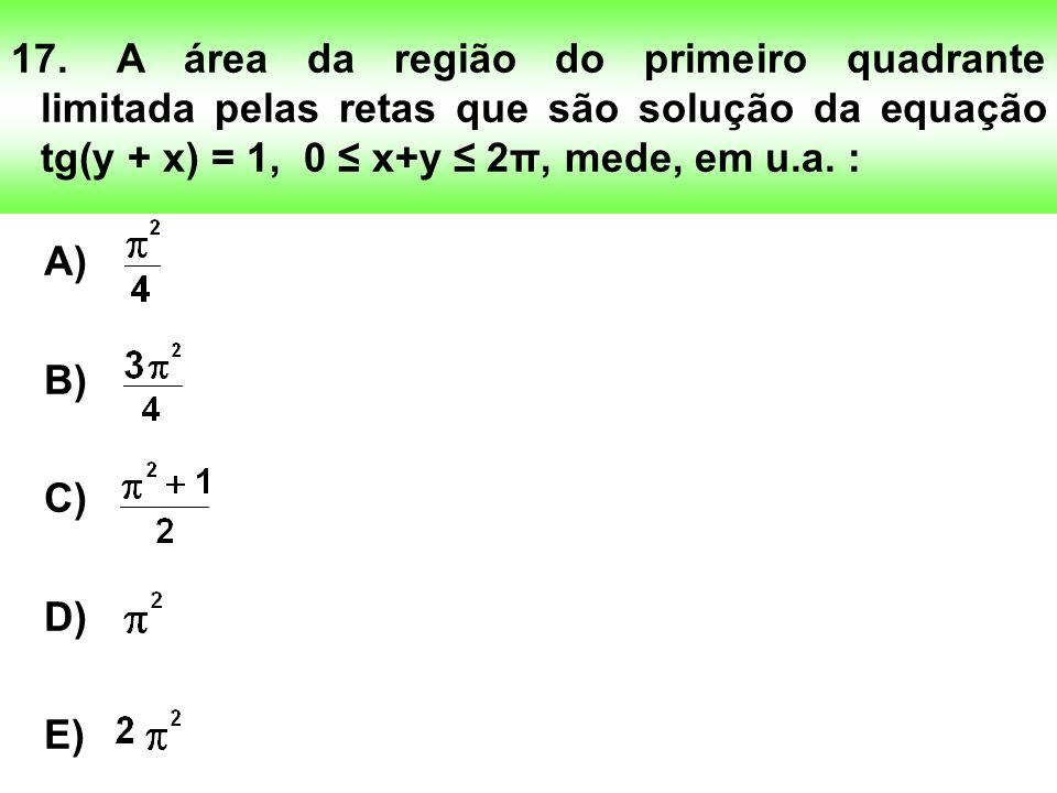 17. A área da região do primeiro quadrante limitada pelas retas que são solução da equação tg(y + x) = 1, 0 ≤ x+y ≤ 2π, mede, em u.a. :