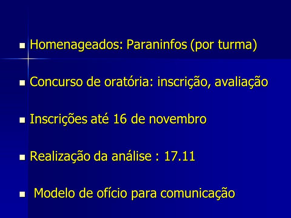 Homenageados: Paraninfos (por turma)