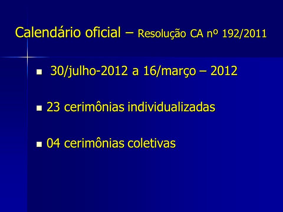 Calendário oficial – Resolução CA nº 192/2011