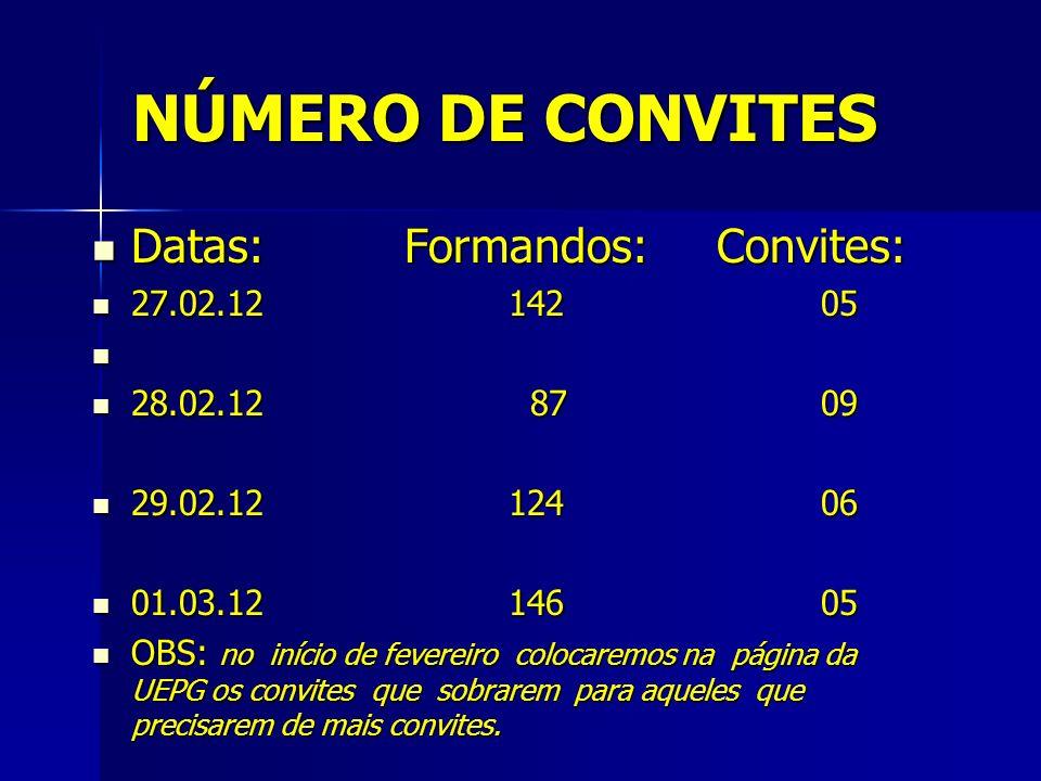 NÚMERO DE CONVITES Datas: Formandos: Convites: 27.02.12 142 05