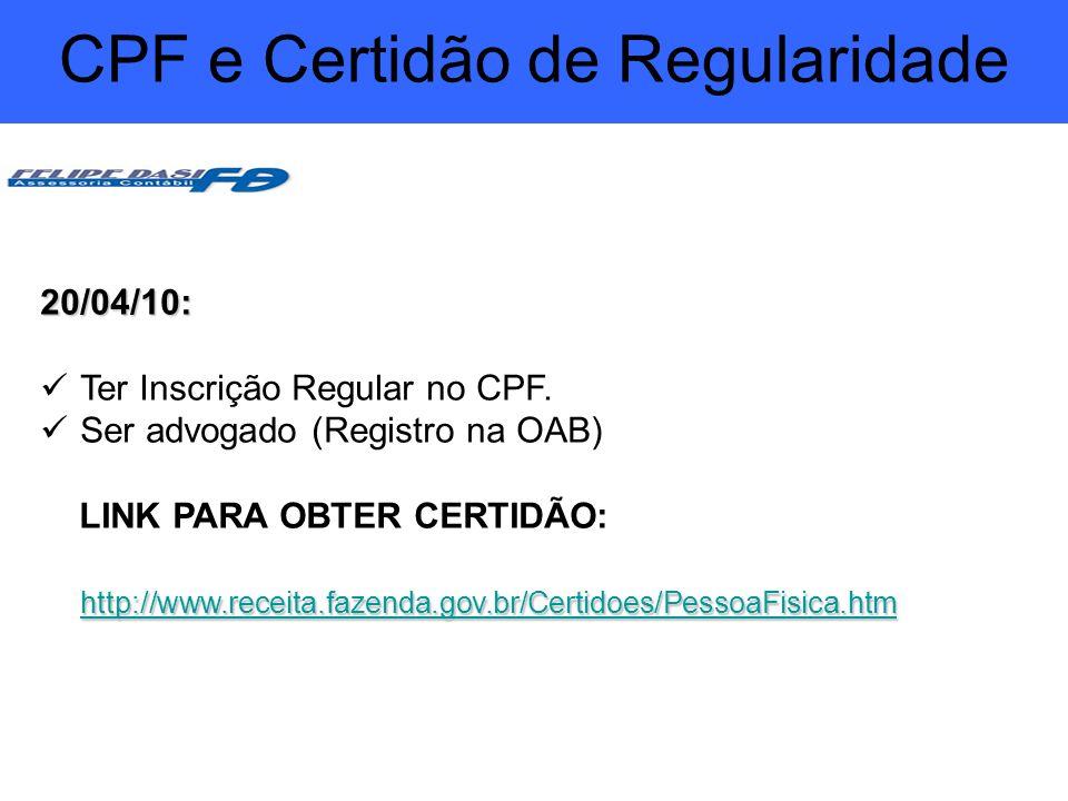 CPF e Certidão de Regularidade
