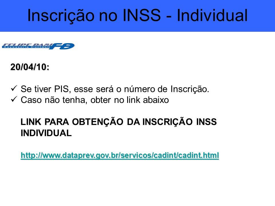 Inscrição no INSS - Individual