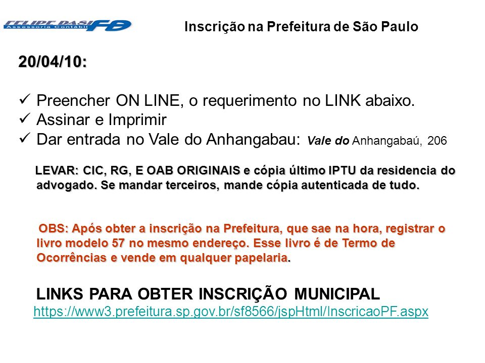 Inscrição na Prefeitura de São Paulo