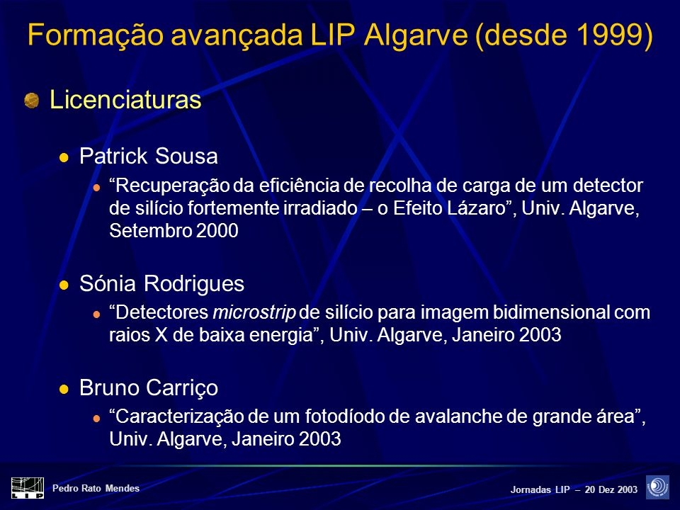 Formação avançada LIP Algarve (desde 1999)