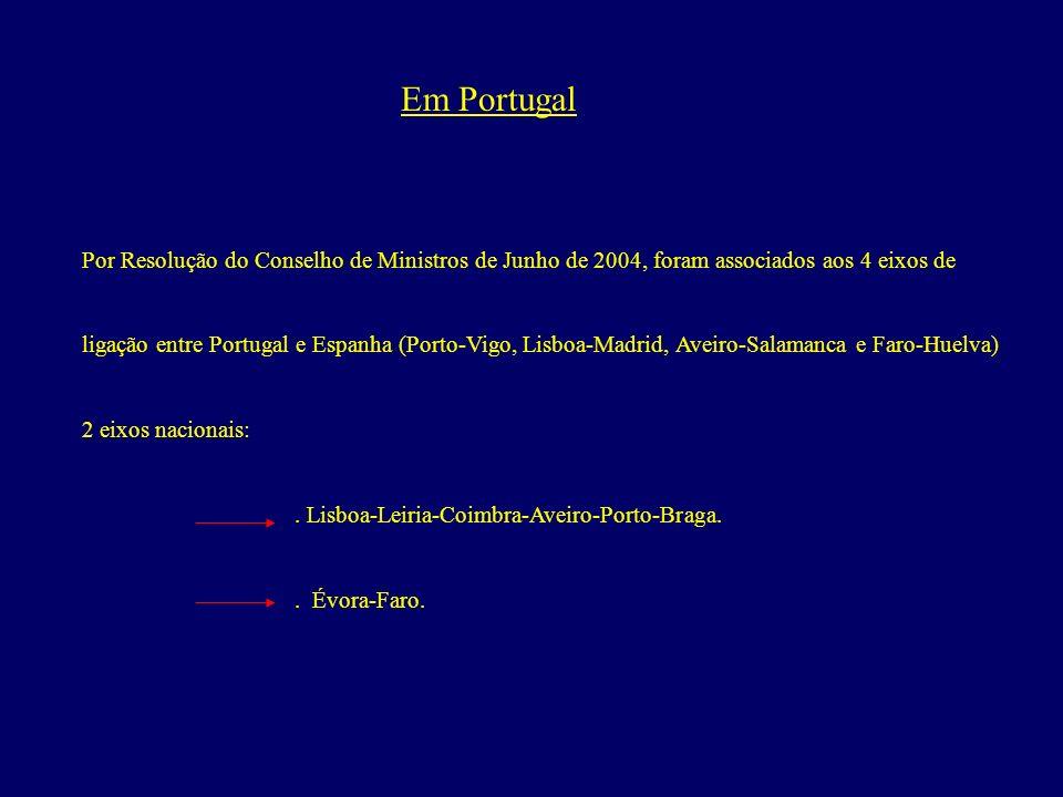 Em Portugal Por Resolução do Conselho de Ministros de Junho de 2004, foram associados aos 4 eixos de.