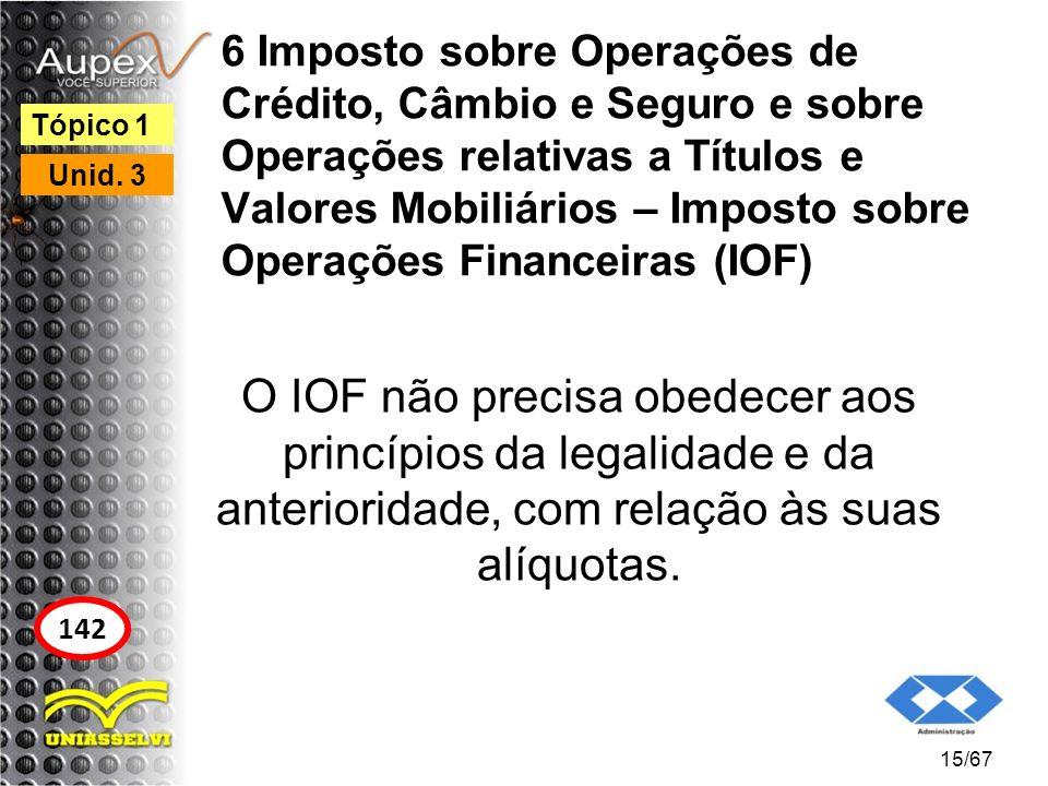 6 Imposto sobre Operações de Crédito, Câmbio e Seguro e sobre Operações relativas a Títulos e Valores Mobiliários – Imposto sobre Operações Financeiras (IOF)
