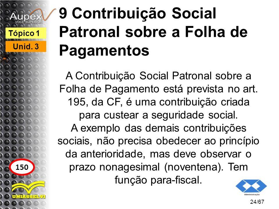 9 Contribuição Social Patronal sobre a Folha de Pagamentos