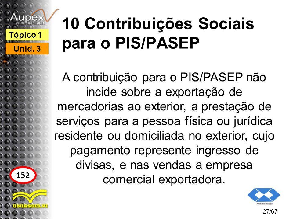 10 Contribuições Sociais para o PIS/PASEP