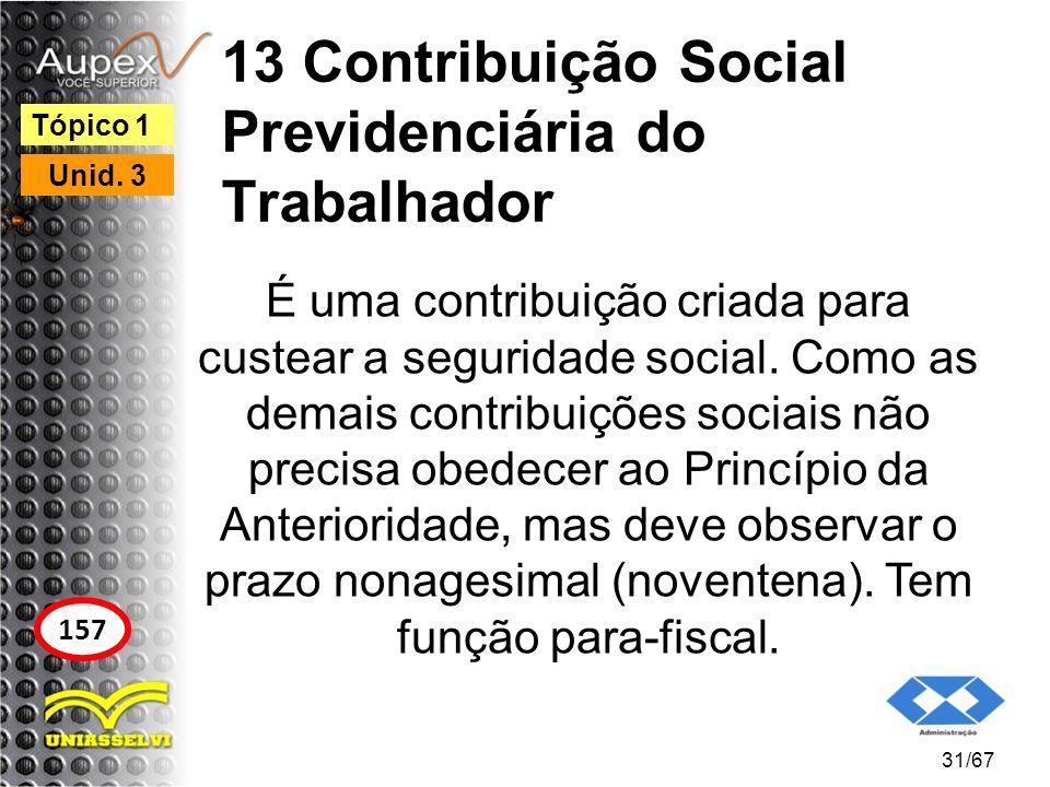 13 Contribuição Social Previdenciária do Trabalhador