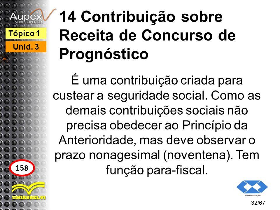 14 Contribuição sobre Receita de Concurso de Prognóstico