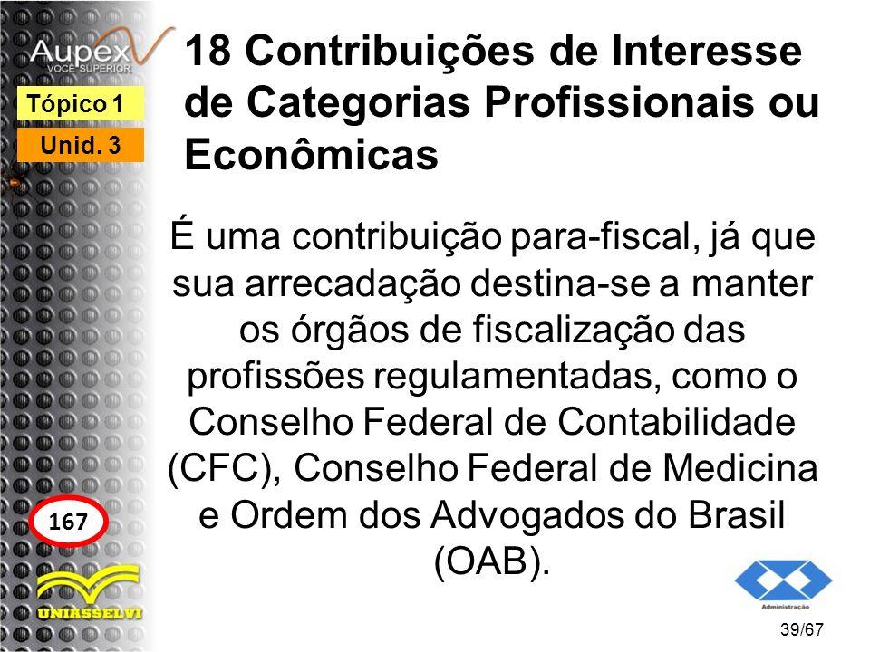 18 Contribuições de Interesse de Categorias Profissionais ou Econômicas