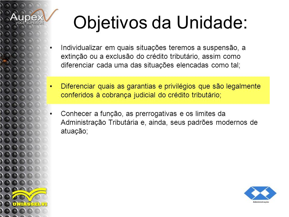 Objetivos da Unidade: