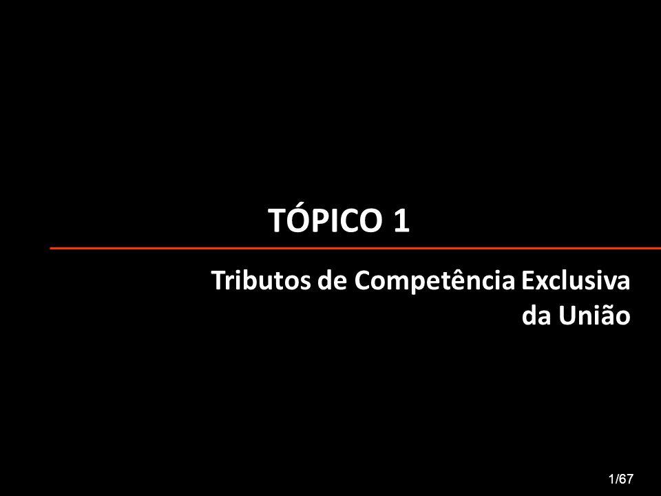 TÓPICO 1 Tributos de Competência Exclusiva da União 1/67
