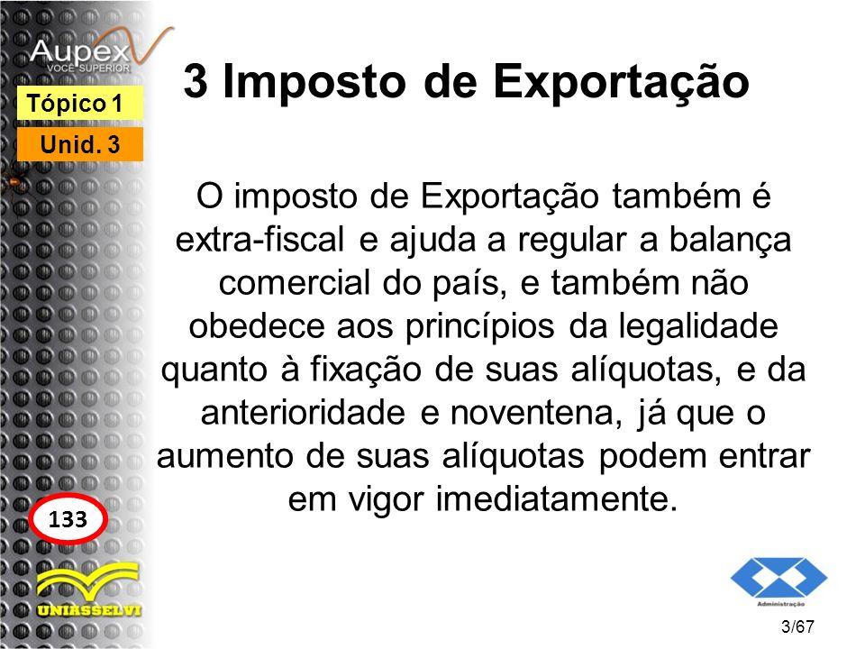 3 Imposto de Exportação Tópico 1. Unid. 3.