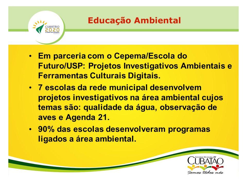 Educação Ambiental Em parceria com o Cepema/Escola do Futuro/USP: Projetos Investigativos Ambientais e Ferramentas Culturais Digitais.