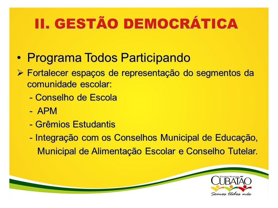 II. GESTÃO DEMOCRÁTICA Programa Todos Participando