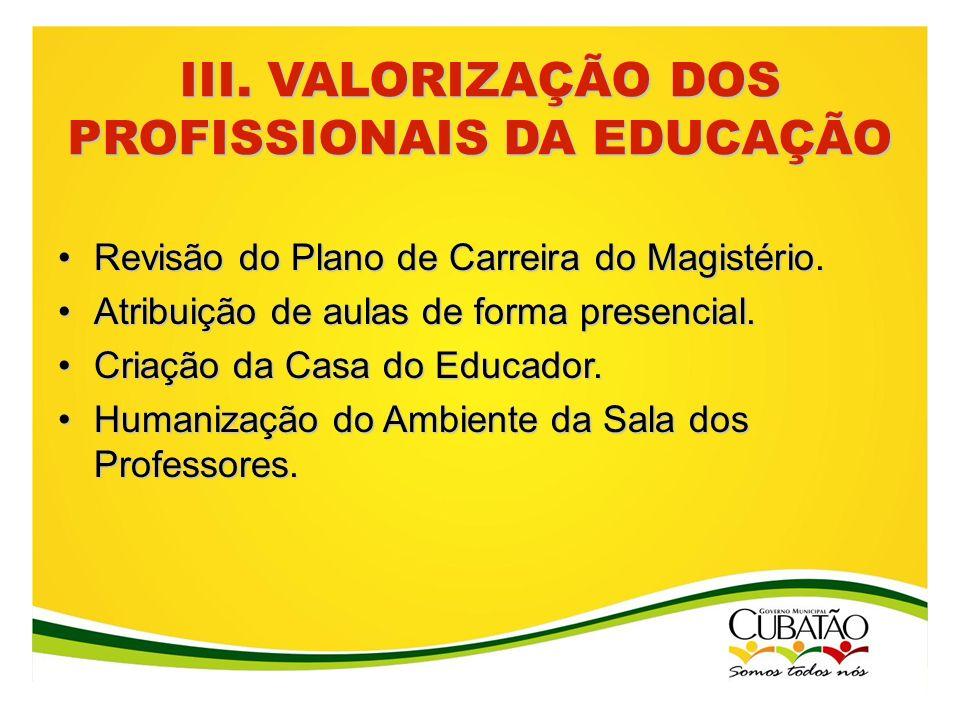 III. VALORIZAÇÃO DOS PROFISSIONAIS DA EDUCAÇÃO