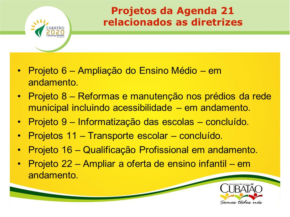 Projetos da Agenda 21 relacionados as diretrizes