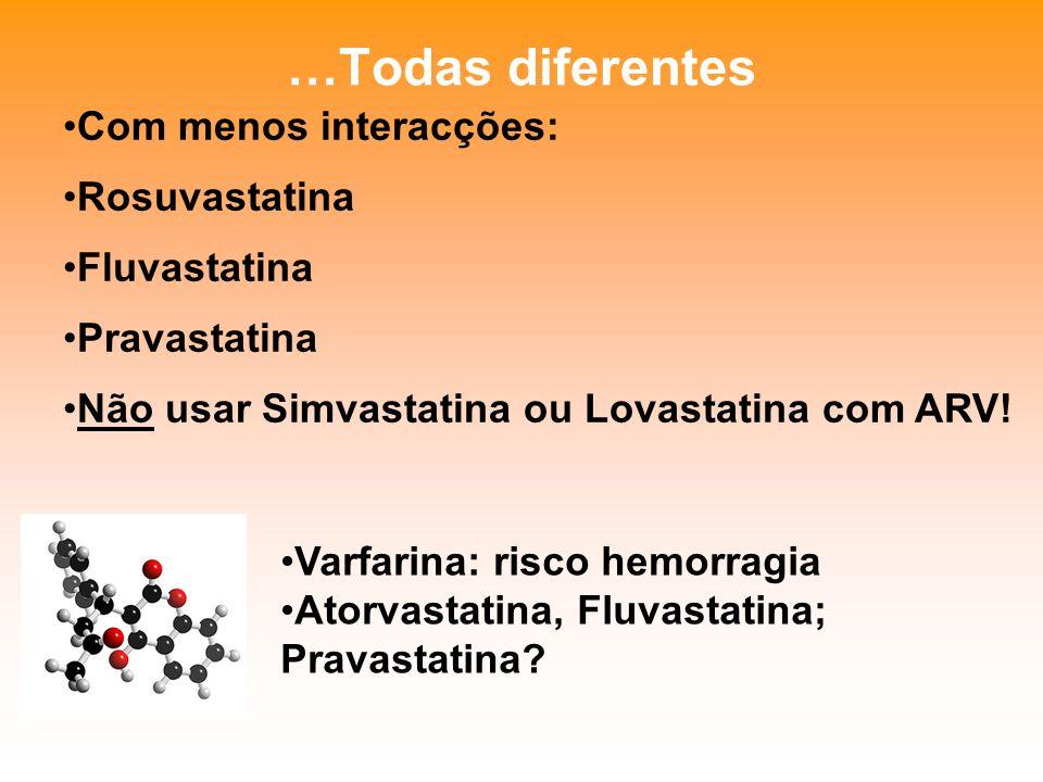 …Todas diferentes Com menos interacções: Rosuvastatina Fluvastatina