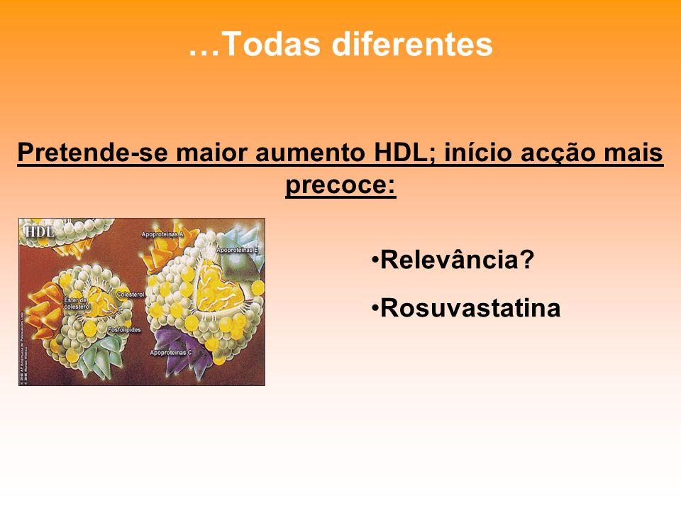Pretende-se maior aumento HDL; início acção mais precoce: