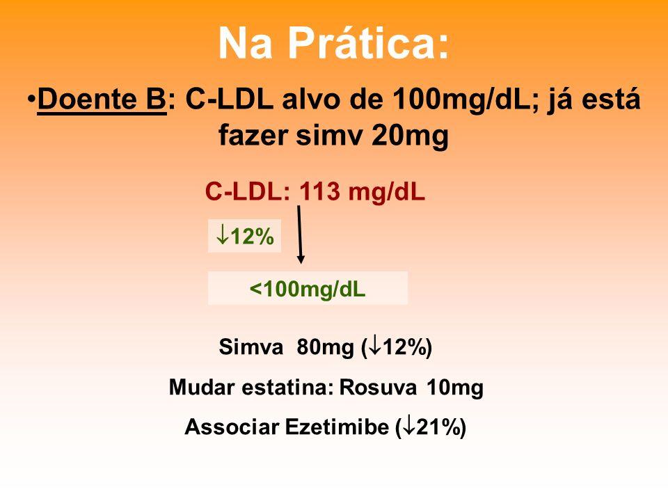Na Prática: Doente B: C-LDL alvo de 100mg/dL; já está fazer simv 20mg