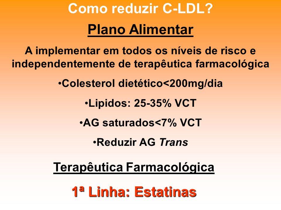 Colesterol dietético<200mg/dia Terapêutica Farmacológica