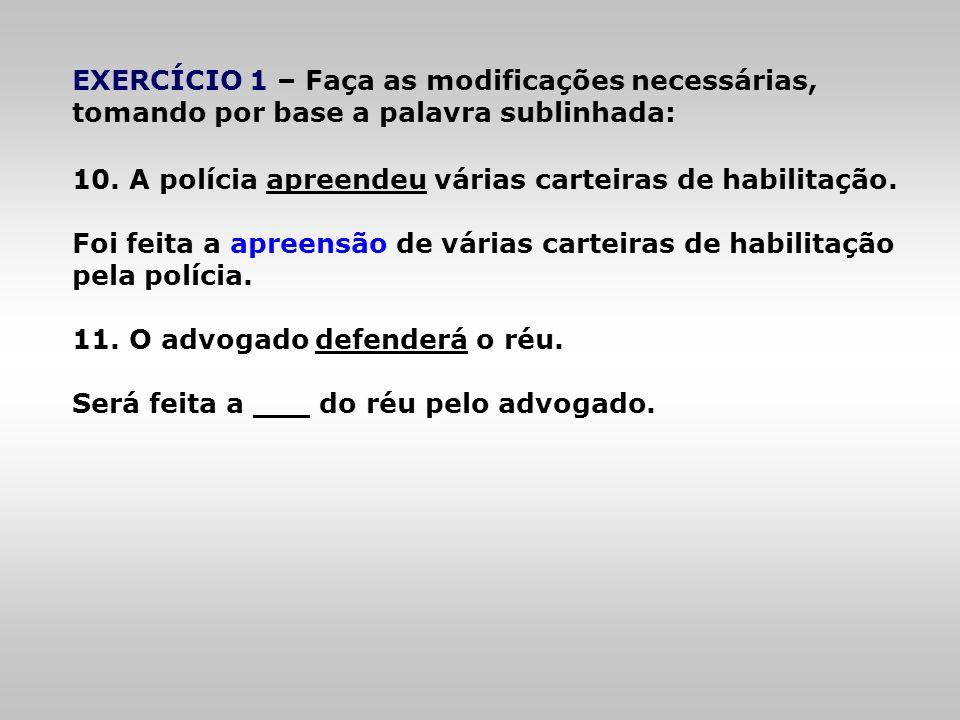 EXERCÍCIO 1 – Faça as modificações necessárias, tomando por base a palavra sublinhada:
