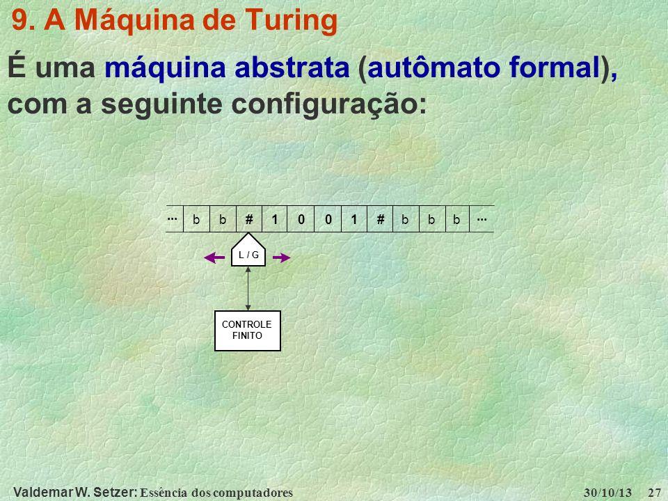 É uma máquina abstrata (autômato formal), com a seguinte configuração: