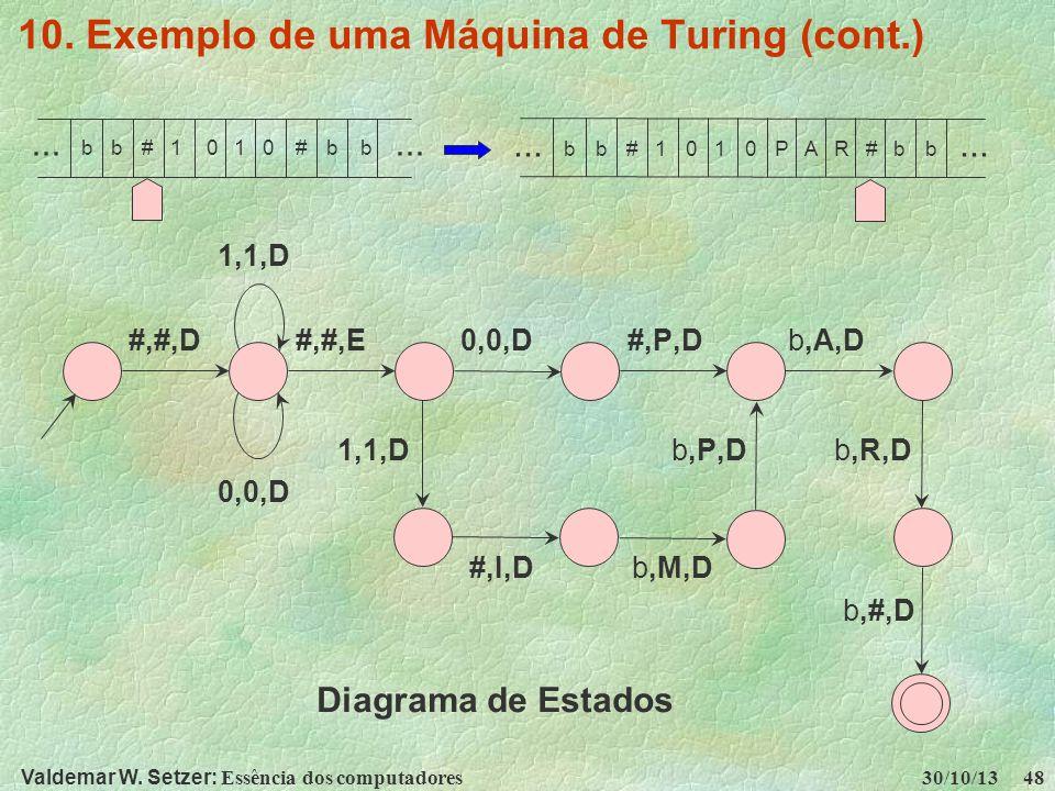 10. Exemplo de uma Máquina de Turing (cont.)