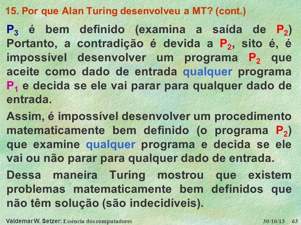 15. Por que Alan Turing desenvolveu a MT (cont.)