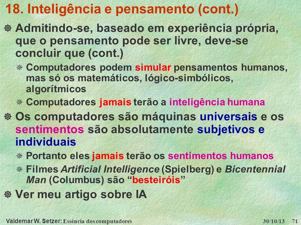 18. Inteligência e pensamento (cont.)