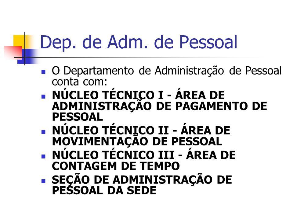 Dep. de Adm. de Pessoal O Departamento de Administração de Pessoal conta com: NÚCLEO TÉCNICO I - ÁREA DE ADMINISTRAÇÃO DE PAGAMENTO DE PESSOAL.
