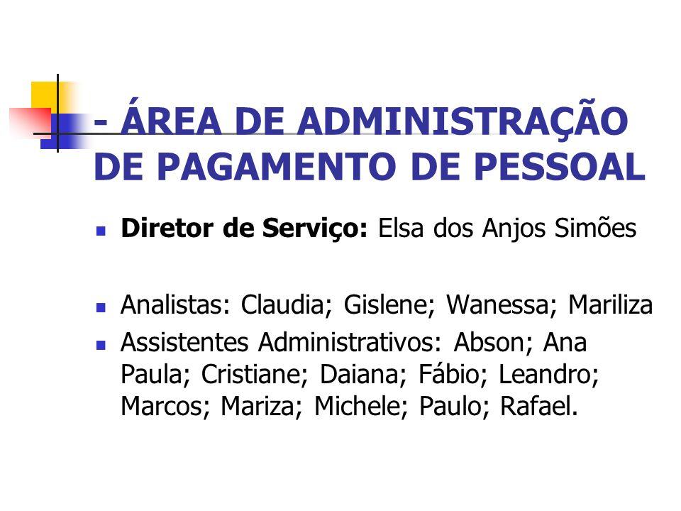 - ÁREA DE ADMINISTRAÇÃO DE PAGAMENTO DE PESSOAL